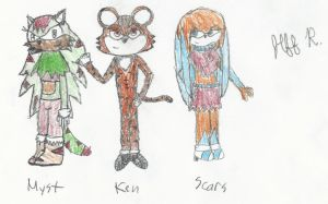 Ken, Scars, and Myst Drawing (group picture 2) by Wolfblade-Numbs