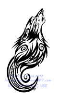 Tribal Swirls Wolf and Moon Tattoo by InsaneRoman