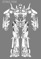 movie optimus prime lineart by hybridmode