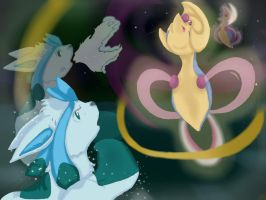 Glaceon v. Cresselia by EeveeDiSempre