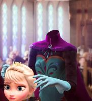 Elsa Putting On Her Head by Person511