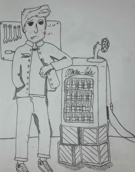 Sosa leaning on pop machine by tipsymouse21