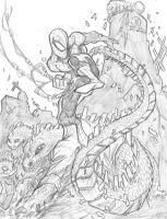 Spiderman vs The Lizard by JoeyVazquez