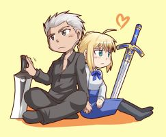 Archer and Saber by yuemaru