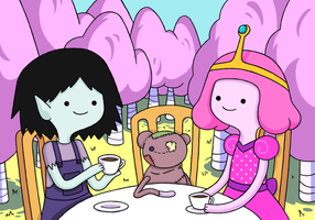 TEA TIME: with Marceline and Bubblegum Princess by meloncrisis