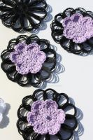 Crochet Flowers-Black and Purple by WhiteMagicPriestess
