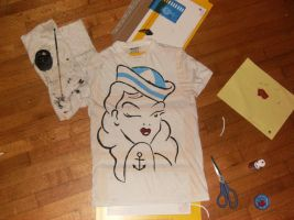 sailor girl stencil shirt by HolyHackJack