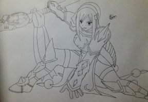 Erza Thunder Empress Armour Line Art by Conzibar