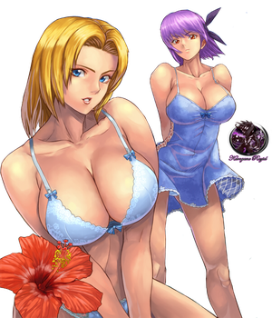 Ayane and Tina Render by Kurogane-Raziel