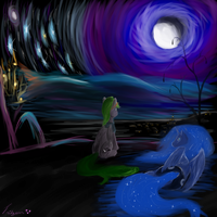 Moon over Ponyville (digital) by Tridgeon