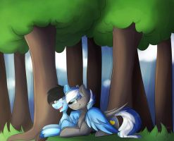 Cuddles In Forest  By Oddend by Cloudzapper8