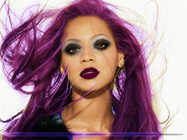 Beyonce Makeup And Purple Hair by caris94