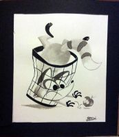 Raccoon in the Trash by brien-likes-cartoons