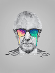 Albert Hofmann - Psychedelic Polygon Portrait by mrsbadbugs