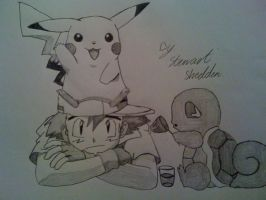 Ash, Pikachu and Squirtle from Pokemon by captonstu