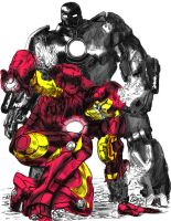 Iron Man vs Iron Monger colored by PhillieCheesie