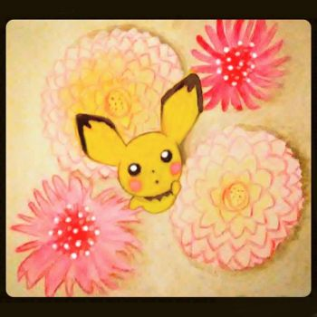Pichu Among the Desert Flowers by JR-Sketcher