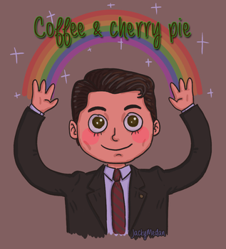 Cooper loves his coffee and pie by Quinsarqua