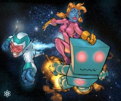 Rocket boy and space chick by atombasher