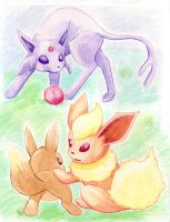 Eevee Brothers Play Ball by rayechu