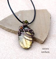 OOAK Labradorite wire wrapped pendant by IanirasArtifacts