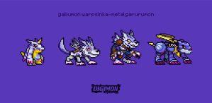 gabumon evolutionline pixelated by IshaMuhammad