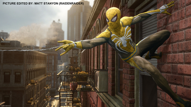 Spider-Man PS4 - Fan Poster (Yellow Suit) by RaidenRaider