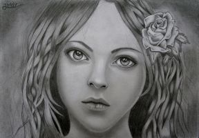 The woman with the Rose by JvdvArt