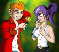 Fry Leela flower by futurama-forever