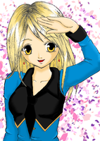 Emily-Salute CG With Blossoms by kittenangel116