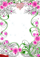 frame swirls with flowers and gems png by Melissa-tm