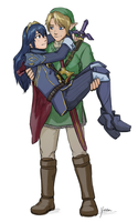 Sketch Commission - Link x Lucina Princess Carry by yinza