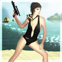 The Bond Girl and the Beach by Eonn