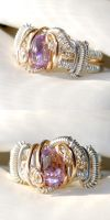 Silver, Gold and Amethyst Ring by AscensionConceptions