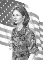 Army Nurse with Flag by miketcherry