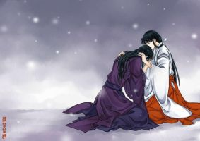 Inuyasha -Kikyo and Naraku by PangurBann
