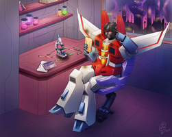 Starscream at work by Kuriko-san