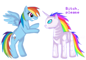 Rainbowdash vs. Robot Unicorn by spanabanana
