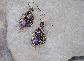 Amethyst wire wrapped earrings by IanirasArtifacts