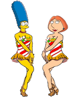 Marge and Lois as the Rockettes by darthraner83