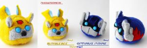 Puggleformers - Bumblebee-Optimus Bay Hatchlings by callykarishokka