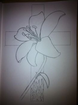 Flower and Cross Tattoo Design - outline by No-Name-01