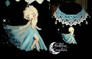 Elsa polymer clay necklace by Nakihra
