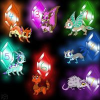 Jewel Creatures Adoptables -CLOSED- by Electric-Mongoose