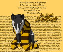 Hufflepuff: Mascot and Scarf by kitsunesakurano