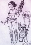 Padme and Ewok by EddieHolly