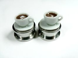 Coffee cup plugs in white by kawaiibuddies