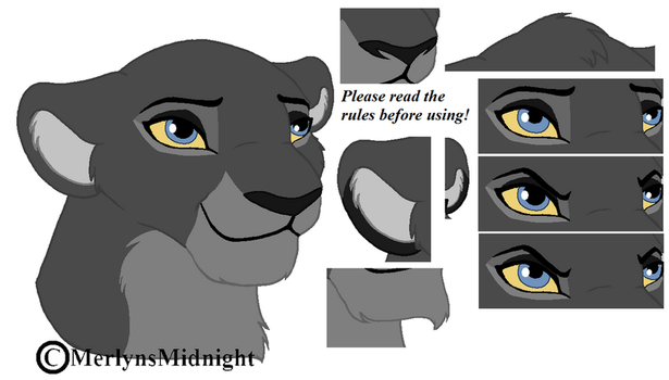 Lioness Head Base (read rules!) by MerlynsMidnight