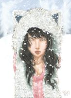 Self Portrait in the Snow - colored by FuzzyPillow