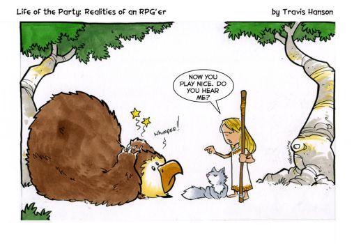 a druid, a wolf and an owlbear.... rpg comic by travisJhanson